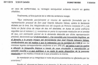 Aclaración de José Vicente Adsuara Veloso