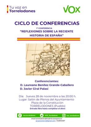 """Laureano Benitez Grande-Caballero: """"Vox Torrelodones inaugura un ciclo de conferencias, con un acto donde se reflexiona sobre la reciente historia de España"""""""