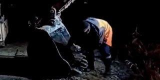 Vídeo viral: Este obrero se sube al cucharón de una excavadora para salvar a un perro callejero que cayó a un lago congelado