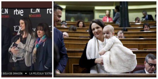 Irene Montero se marca un 'Bescansa' y acude al debate electoral de portavoces en RTVE con su bebé