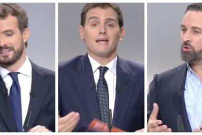 Debate electoral 10-N / Abascal y Casado vapulean a Sánchez y a Iglesias ante la estrategia suicida de un desquiciado Rivera