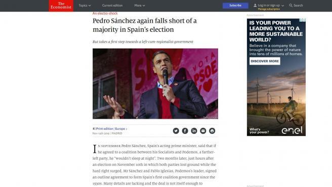 """'The Economist' deja con las 'posaderas' al aire al veleta Sánchez: """"Se come sus palabras"""" sobre no poder dormir con Podemos en el Gobierno"""