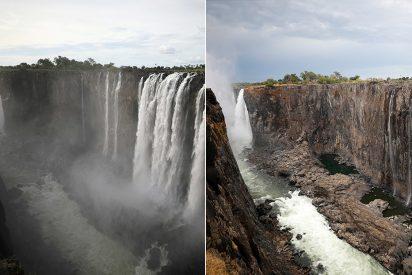 El terrible antes y después de las cataratas Victoria, que casi se han secado en menos de un año