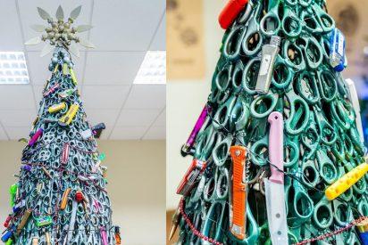 El aeropuerto de Vilna adorna su árbol de Navidad con artículos confiscados y se hace viral