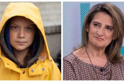 """Este es el nivelazo de la socialista Teresa Ribera, que se cree que su """"tierna"""" Greta Thunberg mea colonia"""