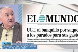 Pepe Álvarez (UGT) titubea cuando le preguntan si va a devolver el dinero que robaron a los parados