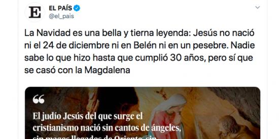 El País veja brutalmente al cristianismo en Navidad y la jugada le sale muy cara en Twitter