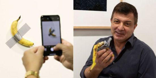 Va a ver la obra de arte del plátano pegado a la pared, por la que han pagado 120.000 dólares... y se la come