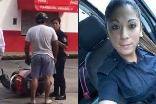 El tipo abofetea a la mujer policía y esta le da una dura respuesta