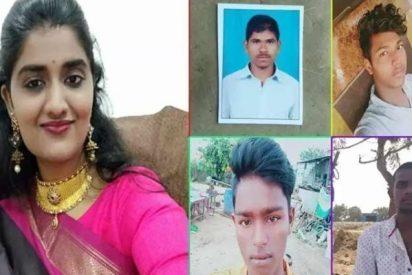 Policías indios llevan a reconocer el lugar del crimen a los 4 camioneros que violaron y quemaron viva a una veterinaria, y los acribillan 'in situ'
