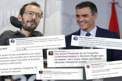 Los 8.800 tuits borrados por Echenique: el de Podemos elimina de la 'memoria histórica' los mensajes donde llama 'kamikaze' a Sánchez