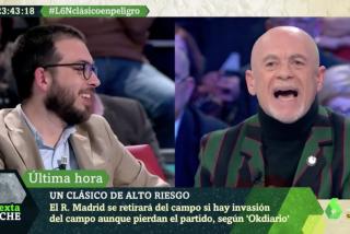 """El Quilombo / Alfredo Duro les hace un traje a los 'hooligans' separatistas de laSexta Noche: """"¡A mí nadie me llama fascista!"""""""