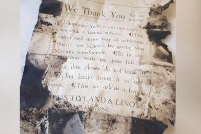 Descubren esta interesante nota en un restaurante que revela cómo hacían negocios antes de la I Guerra Mundial