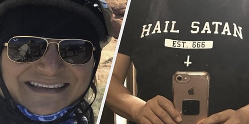 """American Airlines obliga a esta señora a cambiarse de camiseta por llevar la inscripción """"Viva Satanás"""""""