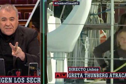 ¡Directo Lisboa! Ferreras se vuelve tarumba y cubre la llegada de Greta Thunberg como si de un jefe de Estado se tratase