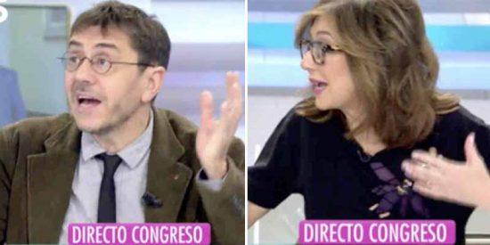 Ana Rosa Quintana 'patea el trasero' a Monedero por su insolencia pidiendo el veto a VOX en TV