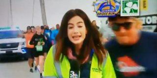 Un runner muy gañán, suspendido de por vida por el cachetazo en el culo a una reportera de TV en directo
