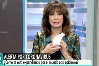El coronavirus alarma a España: la venta de mascarillas arrasa y Ana Rosa se coloca una en TV