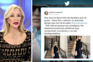 """Carmen Lomana condena la """"inquisición extrema"""" de Twitter y se reafirma en su polémica: """"yo no como carne de animales mamíferos"""""""