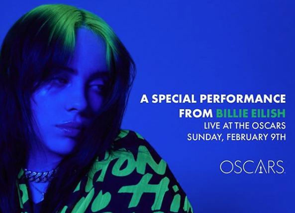 Billie Eilish actuará en los Premios Oscar 2020