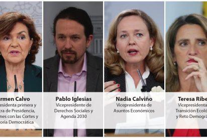 Sánchez se la mete doblada a Iglesias, el de los azotes a Mariló y lo empareda entre tres mujeres vicepresidentas