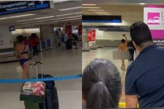 Una mujer se despelota en la mitad del Aeropuerto de Miami