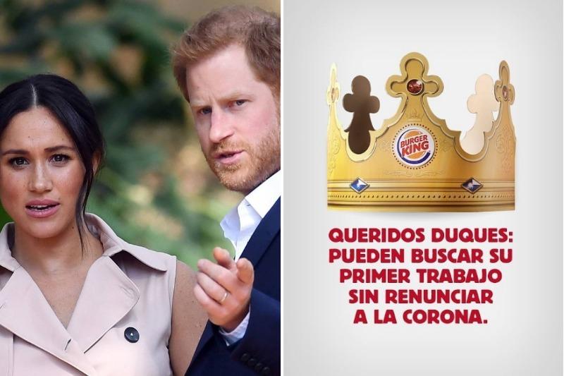 """Burger King ofrece empleo al príncipe Harry y Meghan para que no """"renuncien a la corona"""""""