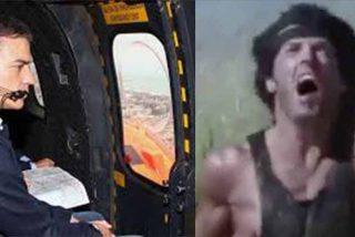 El vídeo de Rambo rogando que Sánchez no se lleve el helicóptero arrasa en las redes