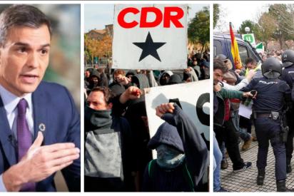Guante de seda de Sánchez con los CDR independentistas y cargas, porras y pelotas de goma contra los agricultores españoles