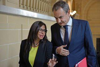 """""""Ciao, mi príncipe"""": la amorosa despedida de Delcy Rodríguez a Zapatero"""