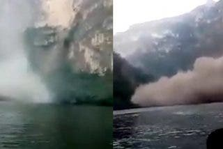 Unos turistas captan el momento exacto en el que se desploma una pared del Cañón del Sumidero en México