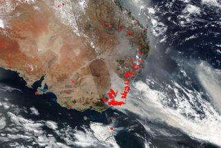 Así se ven desde el espacio los devastadores incendios forestales que azotan Australia