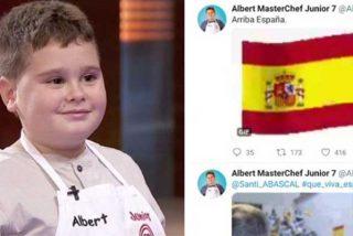 Twitter cierra la cuenta de un niño de Masterchef por sus vivas a España y apoyar a Santiago Abascal