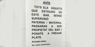 """Un bar de Valencia """"pondrá a fregar platos"""" a todos los niños que no estén bajo supervisión paterna"""