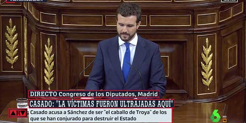 """Pablo Casado apabulla a Sánchez antes de la votación: """"Quiero rendir homenaje a todas las víctimas de ETA que fueron ultrajadas aquí"""""""