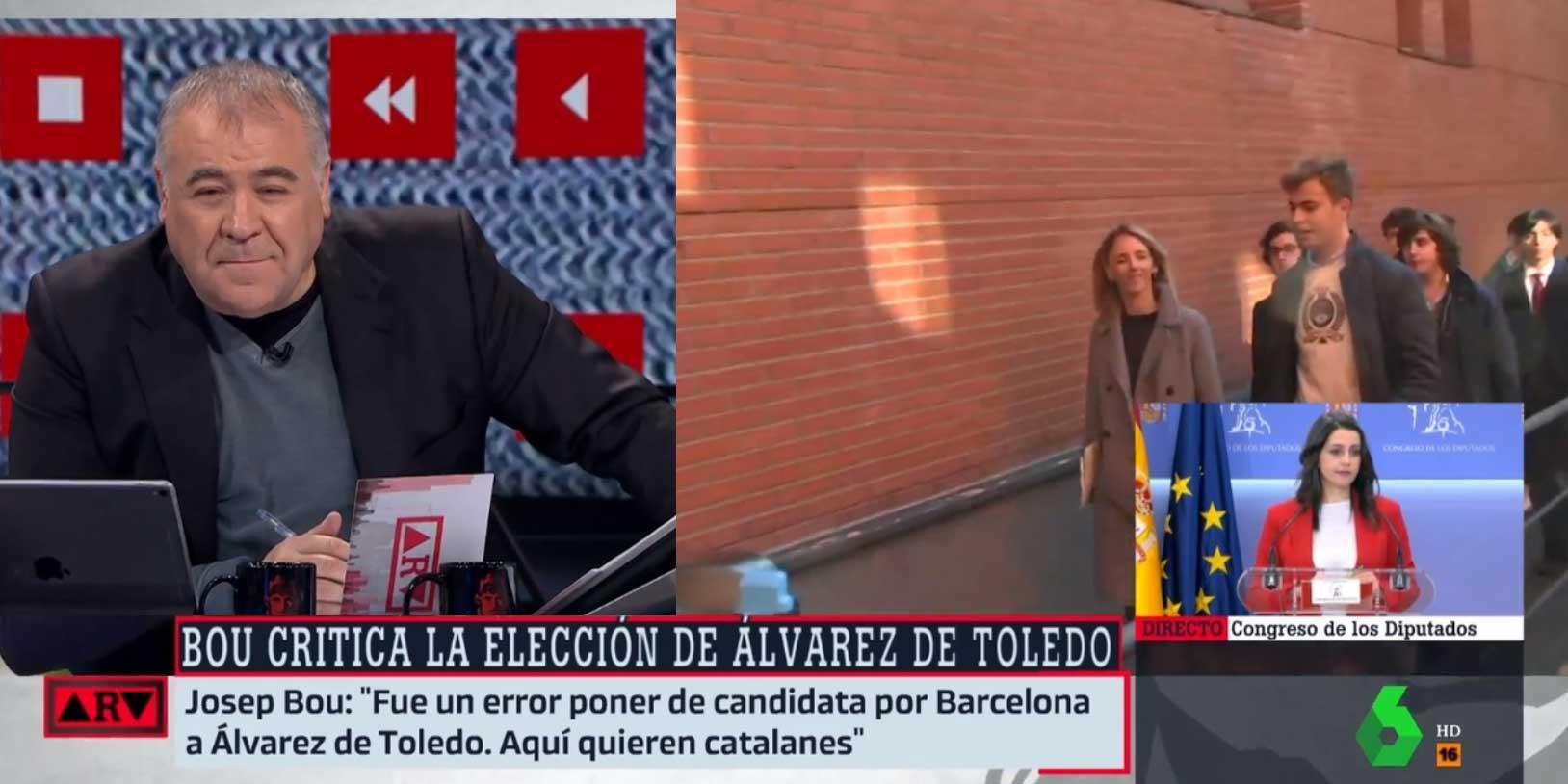 Así de fácil se lo pone la derecha a laSexta: Ferreras se 'pone las botas' con las palabras racistas de Josep Bou sobre Cayetana Álvarez de Toledo