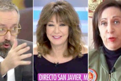 Margarita Robles aparece en TV con una 'chupa' de aviadora y Girauta no puede de la risa