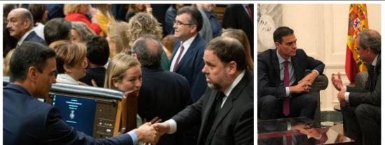 Sánchez se empecina en dialogar con el inhabilitado Torra y en rehabilitar al delincuente Junqueras