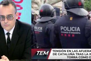 """Risto Mejide abronca a sus rotulistas por mostrar la """"tensión"""" a las puertas del Parlamento de Cataluña: """"¡Quitad esa palabra que luego nos llaman sensacionalistas!"""""""