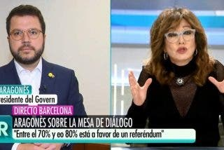Antológico zasca constitucional de Ana Rosa Quintana al 'indepe' Pere Aragonés