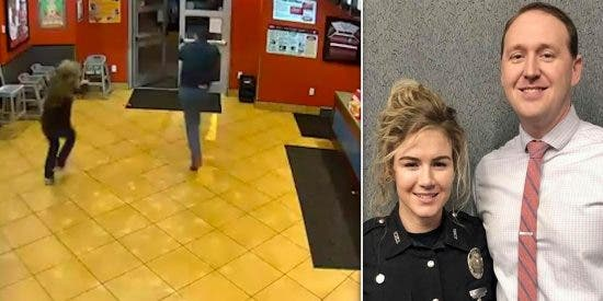 El ladrón tiene la mala suerte de atracar el restaurante donde celebra una cena romántica la pareja de policías