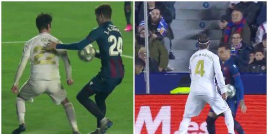 El Real Madrid no tuvo punch ni puntería, pero el Levante hizo dos manos clamorosas y el árbitro ni se enteró