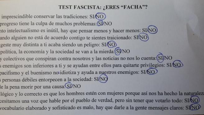 España: Un profesor hace un test para detectar a los 'fachas' dentro del aula