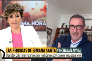 Carlos Herrera prepara unas alubias con costillas mientras enseña su casa con vistas a la Giralda en TV