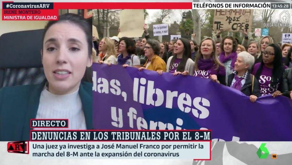 Irene Montero emerge histérica de su cuarentena, niega ser responsable del 8M y llama fachas a los que la critican