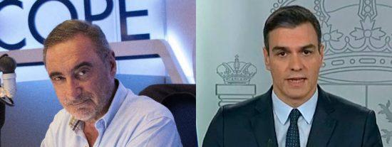 Carlos Herrera se harta de las peroratas insufribles de Sánchez en televisión:
