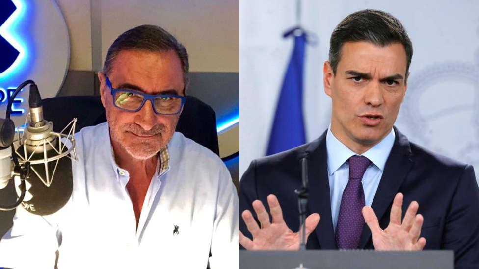 """Carlos Herrera desmonta """"el relato"""" de 'Aló, Presidente' Sánchez: """"Se niega a admitir que los contagios y muertes se originaron antes del 8-M"""""""