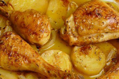 Pollo al horno con patatas y cebolla