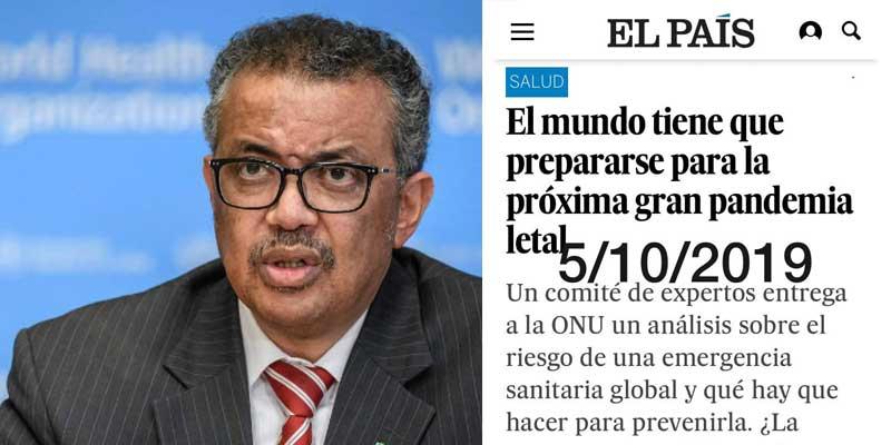 """La noticia que revela que apenas nadie lee periódicos: El País publicó en 2019 un informe de la OMS avisando de una """"gripe masiva y mortal"""""""