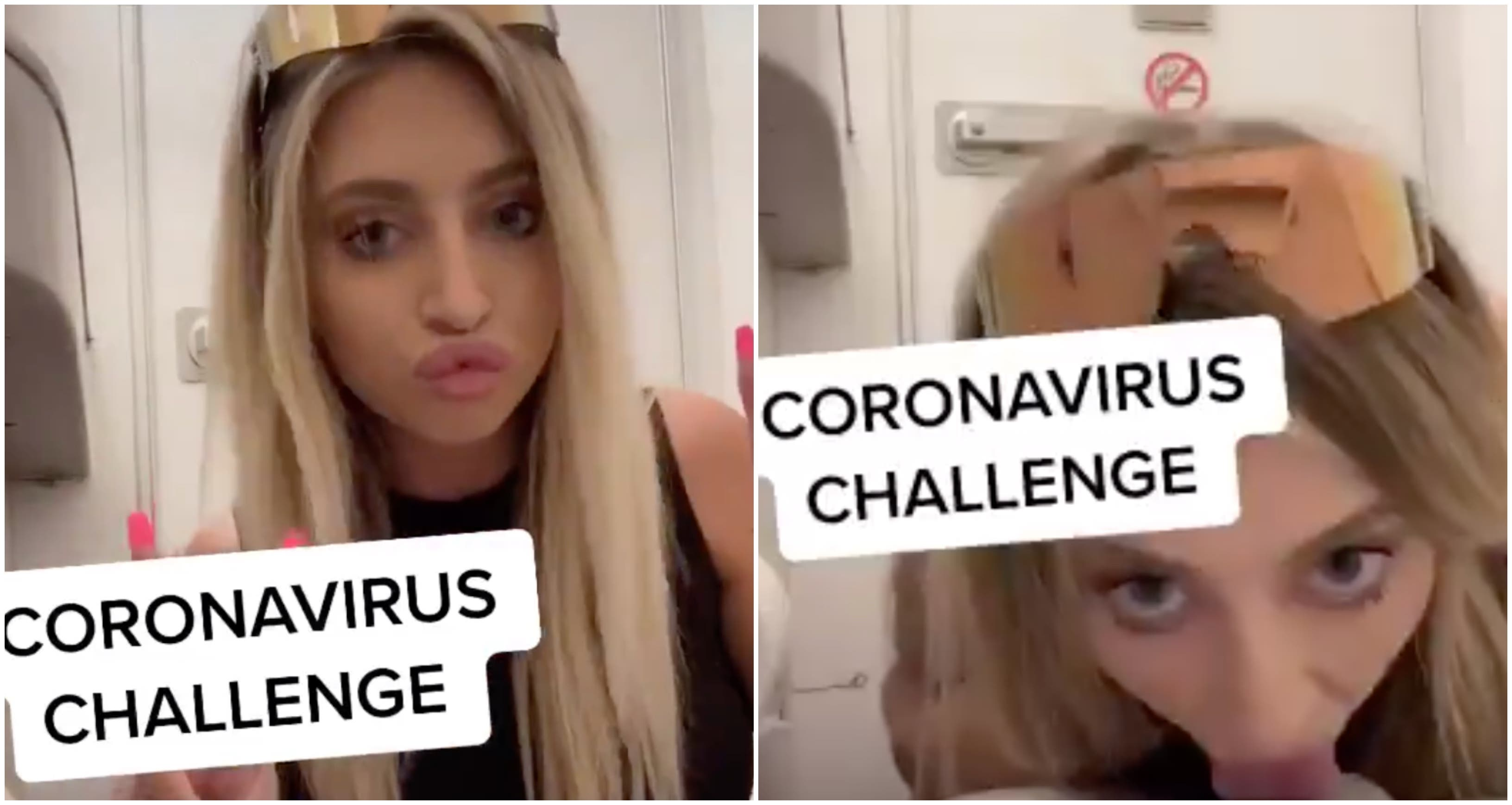 Una insensata influencer lame el inodoro de un avión y anima a hacer al 'Coronavirus Challenge'